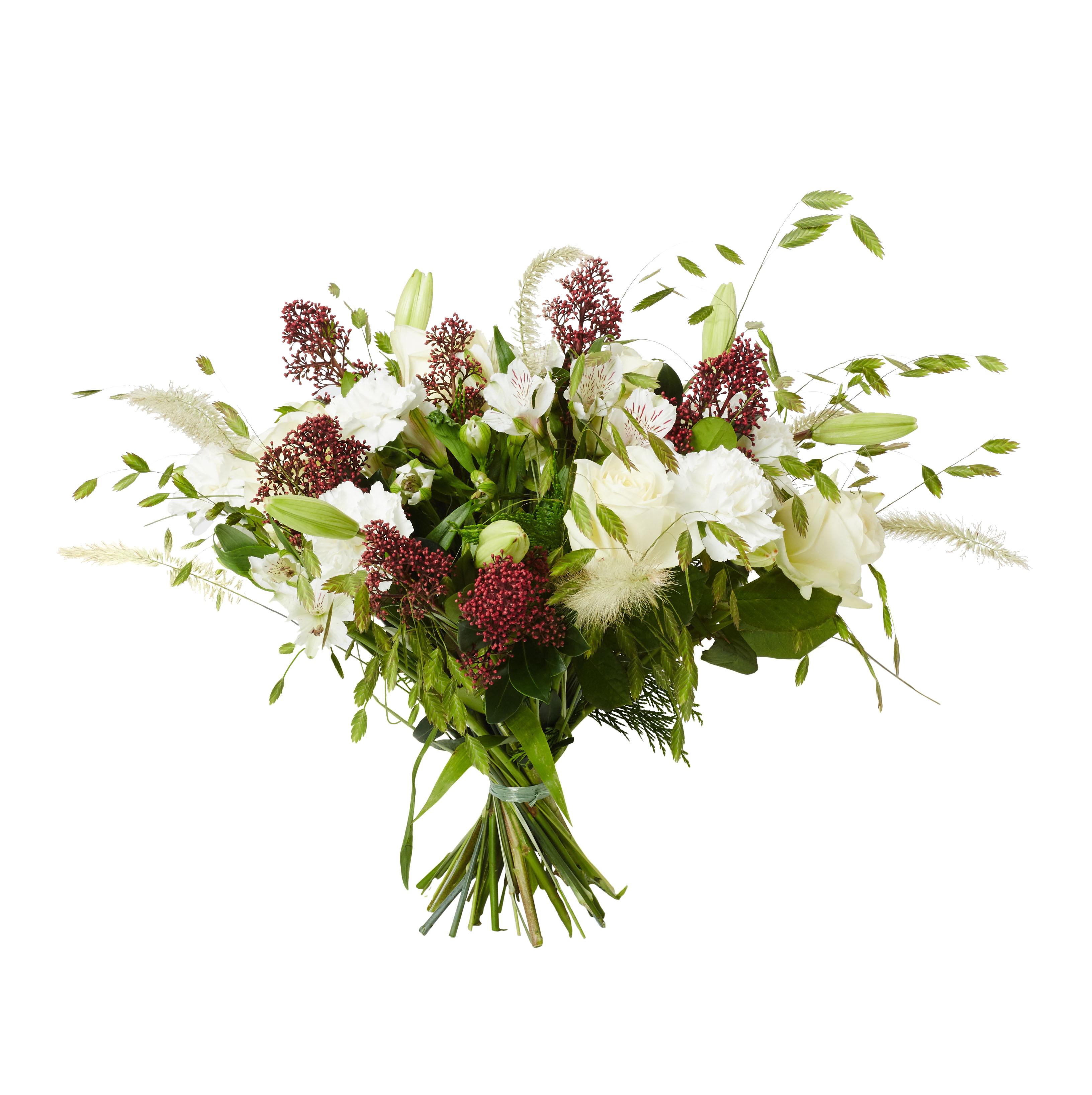Bunden vacker vasbukett med begravningsblommor i rosor,nejlikor,liljor,skimma och skira strån. Sorgbuketten är till största del grön men även vit och lite röd.
