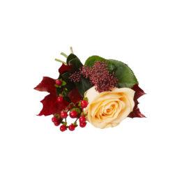 Handbukett med höst inslag, buketten är bunden med aprikos ros,skimma. hypericum samt eklöv.Handbuketten ligger på en vit bakgrund och är en begravningsblomma.