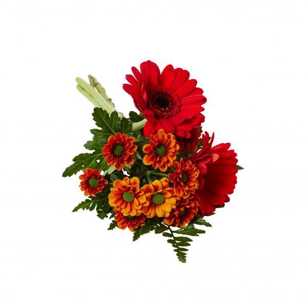 Handbukett med germini , santini blommor samt läderblad. Blommorna är begravningsblommor och ligger på en vit bakgrund.