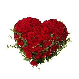 Begravningsblomma som består av ett fyllt hjärta gjord av stora röda rosor med murgröna runt kanten. Hjärtat är i mitten av en vit bakgrund.