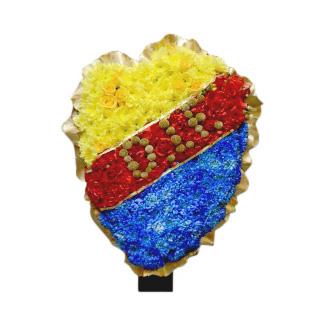 Begravningsblomma gjord av blommor i djurgårdens färger.Gul, röd och blå.Blommorna formar djurgården loggan och i mitten står bokstäverna D.I.F. Dekorationen är ett personligt arrangemang.