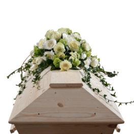 Begravningsblommor som används som kistdekoration på vit begravningskista. Blommorna består av vita samt lime gröna rosor och murgröna som vackert lägger sig över kistan.
