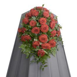 kistdekorationer, begravningsblommor, lavendla begravningsbyrå