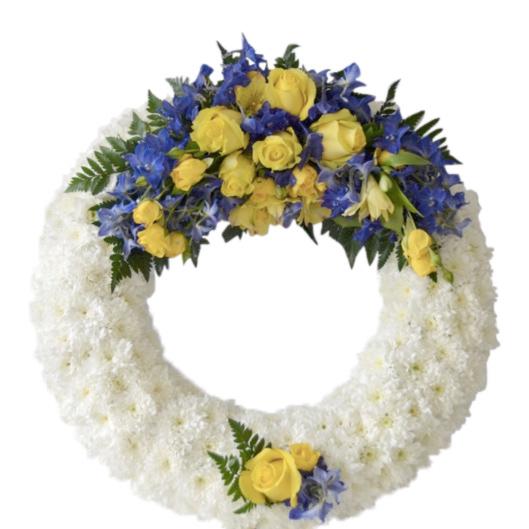 Vit begravningskrans med vita krysantemum,kransen har en dekoration av gula rosor alstromeria och blå definium. Kransen är placerad i mitten av en vit bakgrund och är en begravningsblomma.