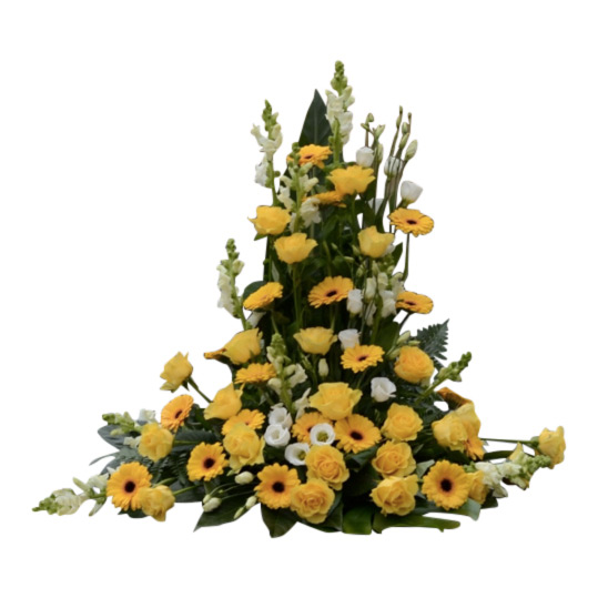 Sorgarrangemang med gula begravningsblommor i rosor,gerbera och vita prärieklockor samt gröna blad. Blommorna bildar en fin begravningsbukett och är i mitten av en vit bakgrund.