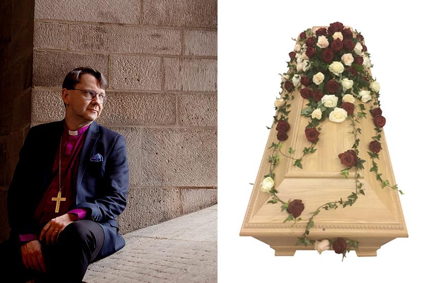 gå på begravning