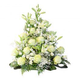 iasis sorgdekoration begravningsblommor lavendla