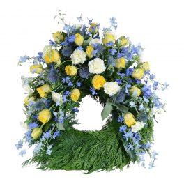 Erion begravningskrans begravningsblommor lavendla