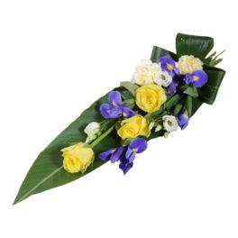 flavi begravningsblommor sorgbukett lavendla
