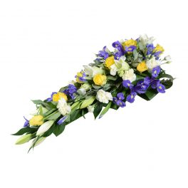 globio sorgdekoration begravningsblommor lavendla
