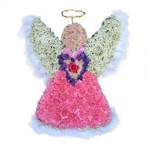 rosa angel begravningsblommor lavendla