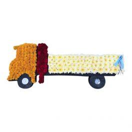 lastbil begravningsblommor lavendla