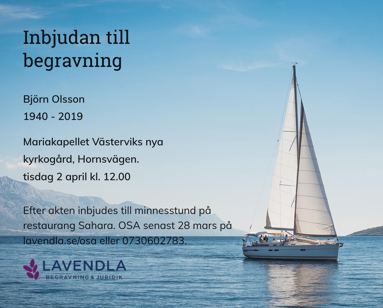 Inbjudningskort till ceremonin för Björn Olsson