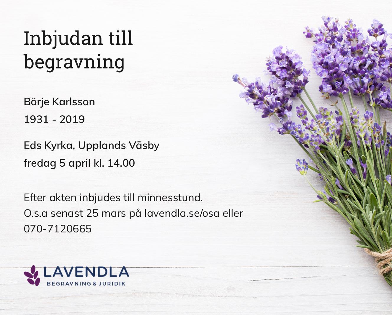 Inbjudningskort till ceremonin för Börje Karlsson