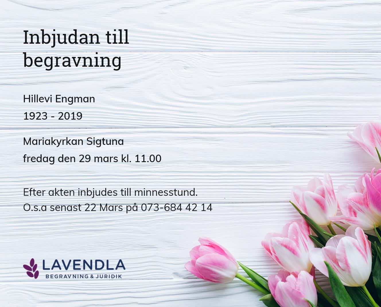 Inbjudningskort till ceremonin för Hillevi Engman