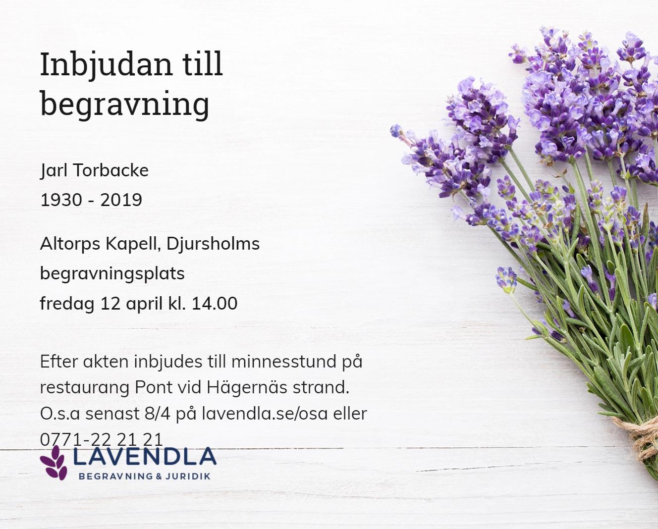 Inbjudningskort till ceremonin för Jarl Torbacke