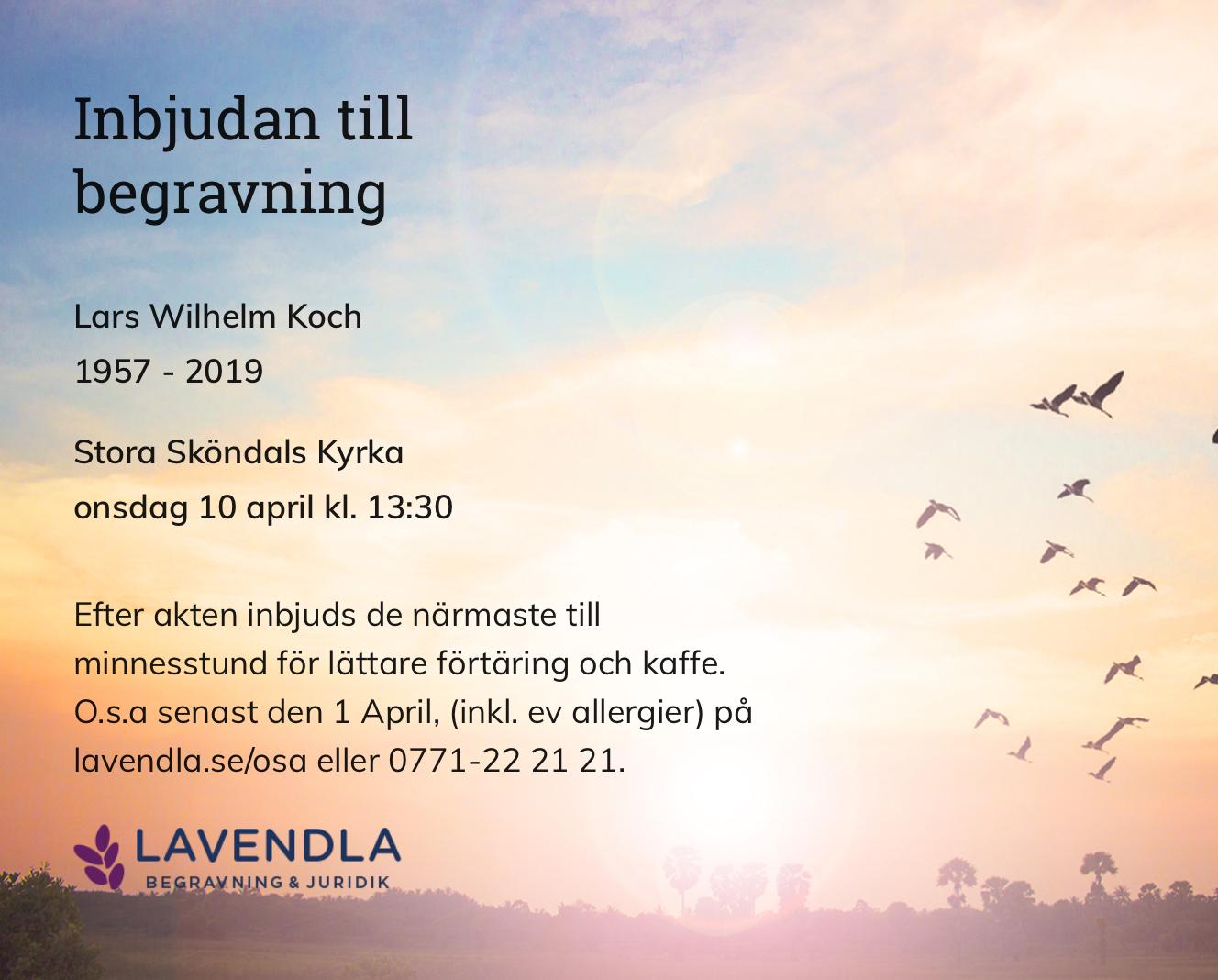 Inbjudningskort till ceremonin för Lars Wilhelm Koch