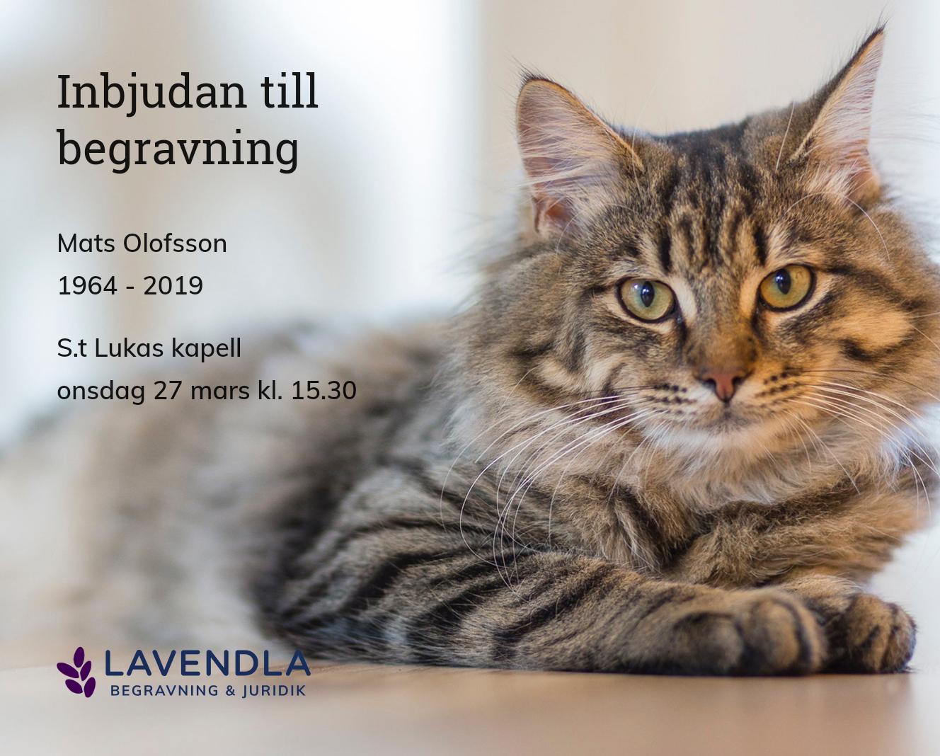 Inbjudningskort till ceremonin för Mats Olofsson