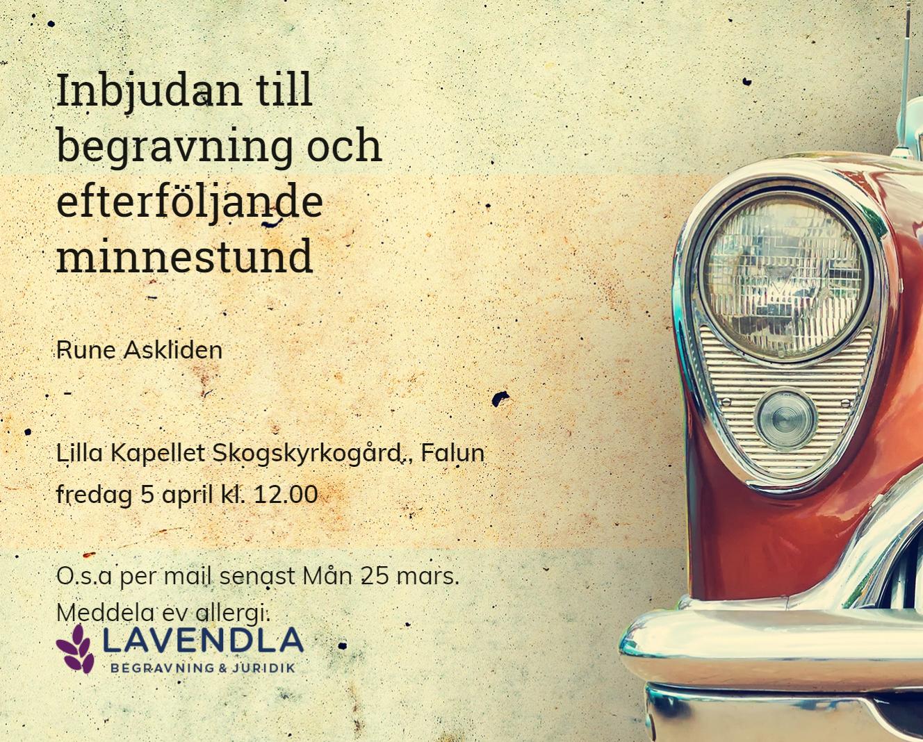 Inbjudningskort till ceremonin för Rune Askliden
