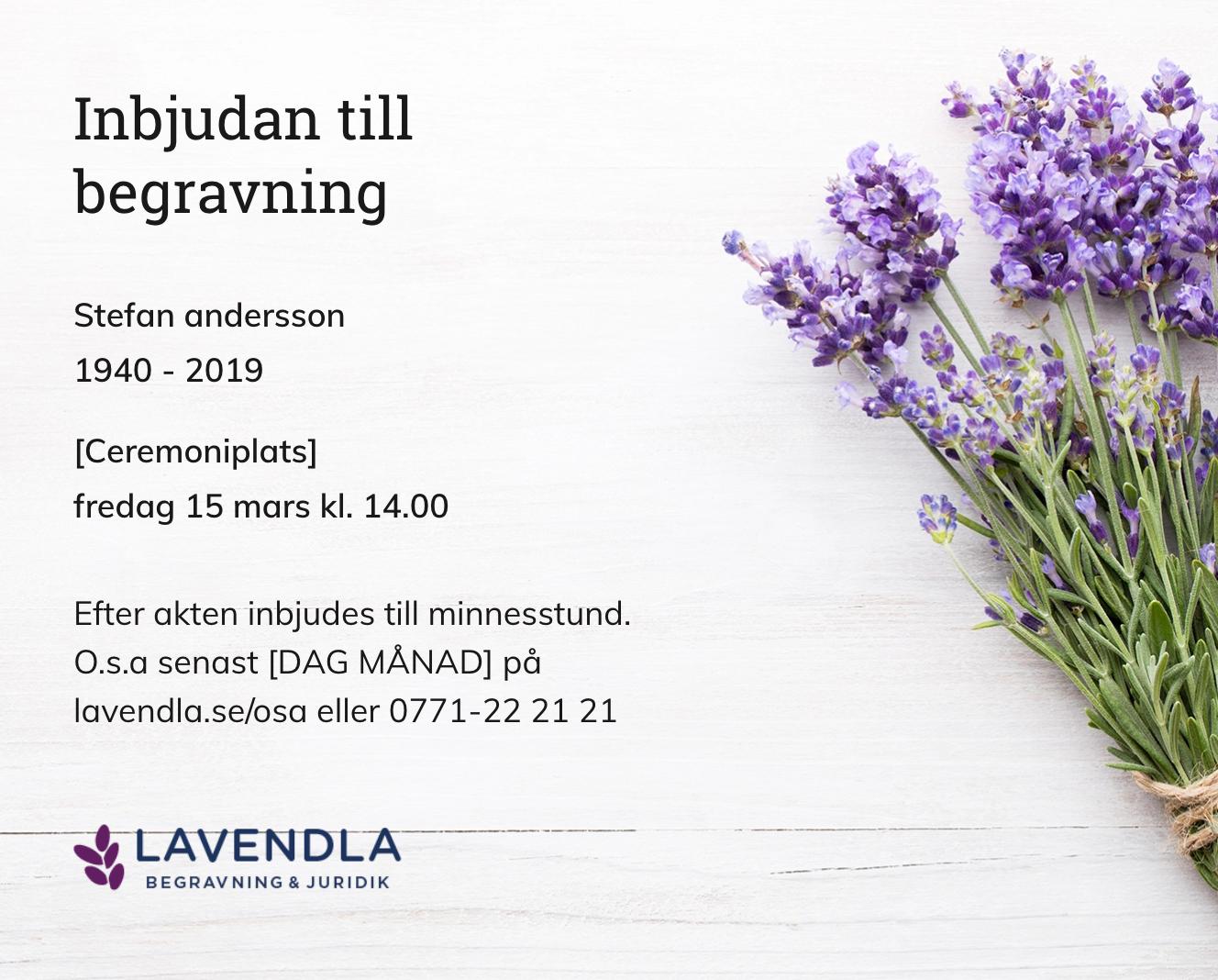 Inbjudningskort till ceremonin för Stefan andersson