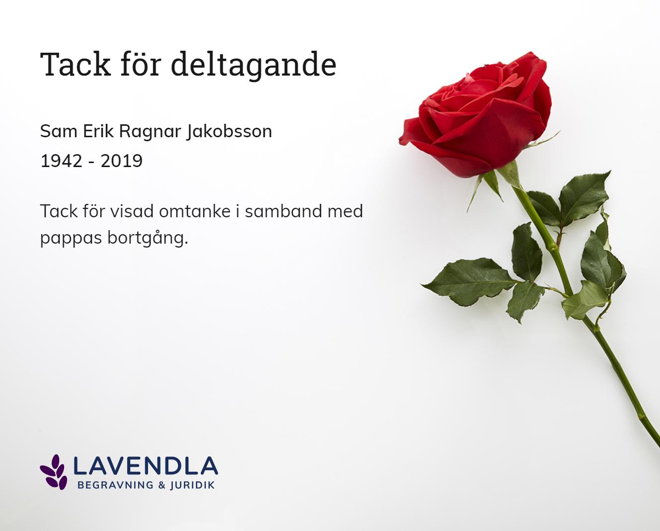 Inbjudningskort till ceremonin för Sam Erik Ragnar Jakobsson
