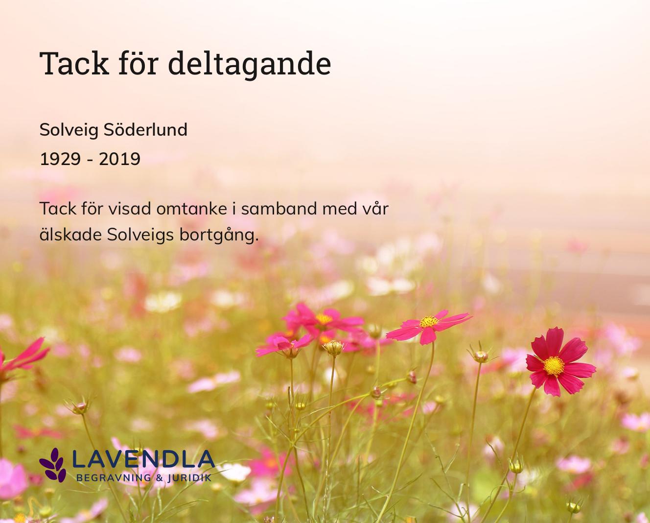 Inbjudningskort till ceremonin för Solveig Söderlund