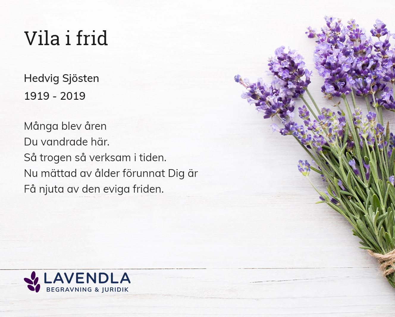 Inbjudningskort till ceremonin för Hedvig Sjösten