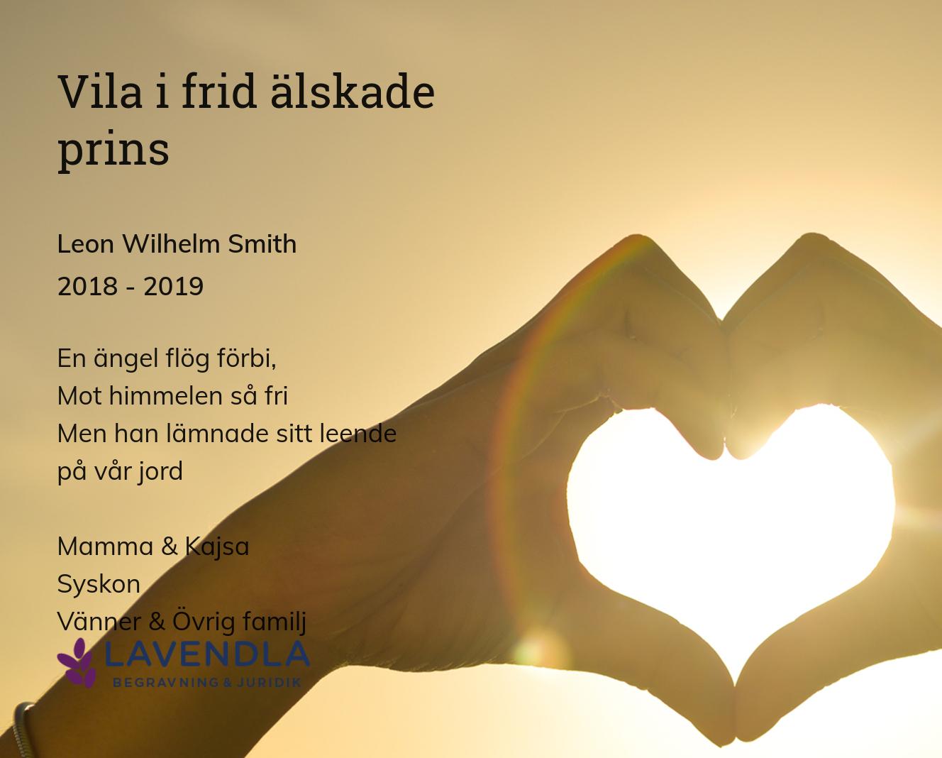 Inbjudningskort till ceremonin för Leon Wilhelm Smith