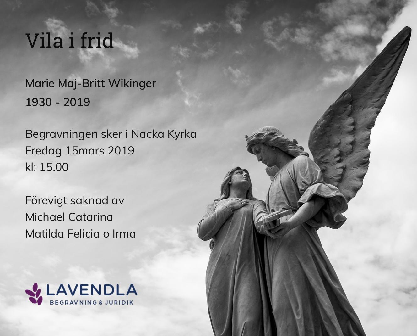 Inbjudningskort till ceremonin för Marie Maj-Britt Wikinger
