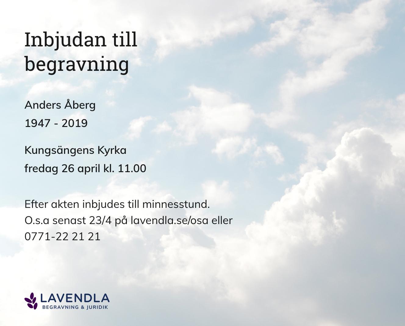 Inbjudningskort till ceremonin för Anders Åberg