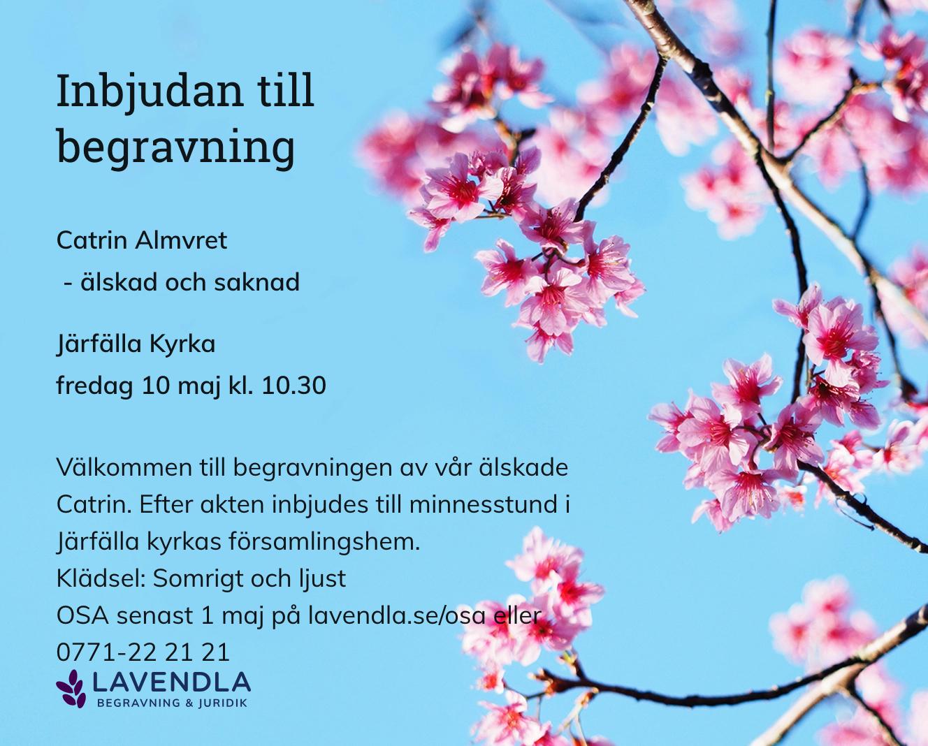 Inbjudningskort till ceremonin för Catrin Almvret