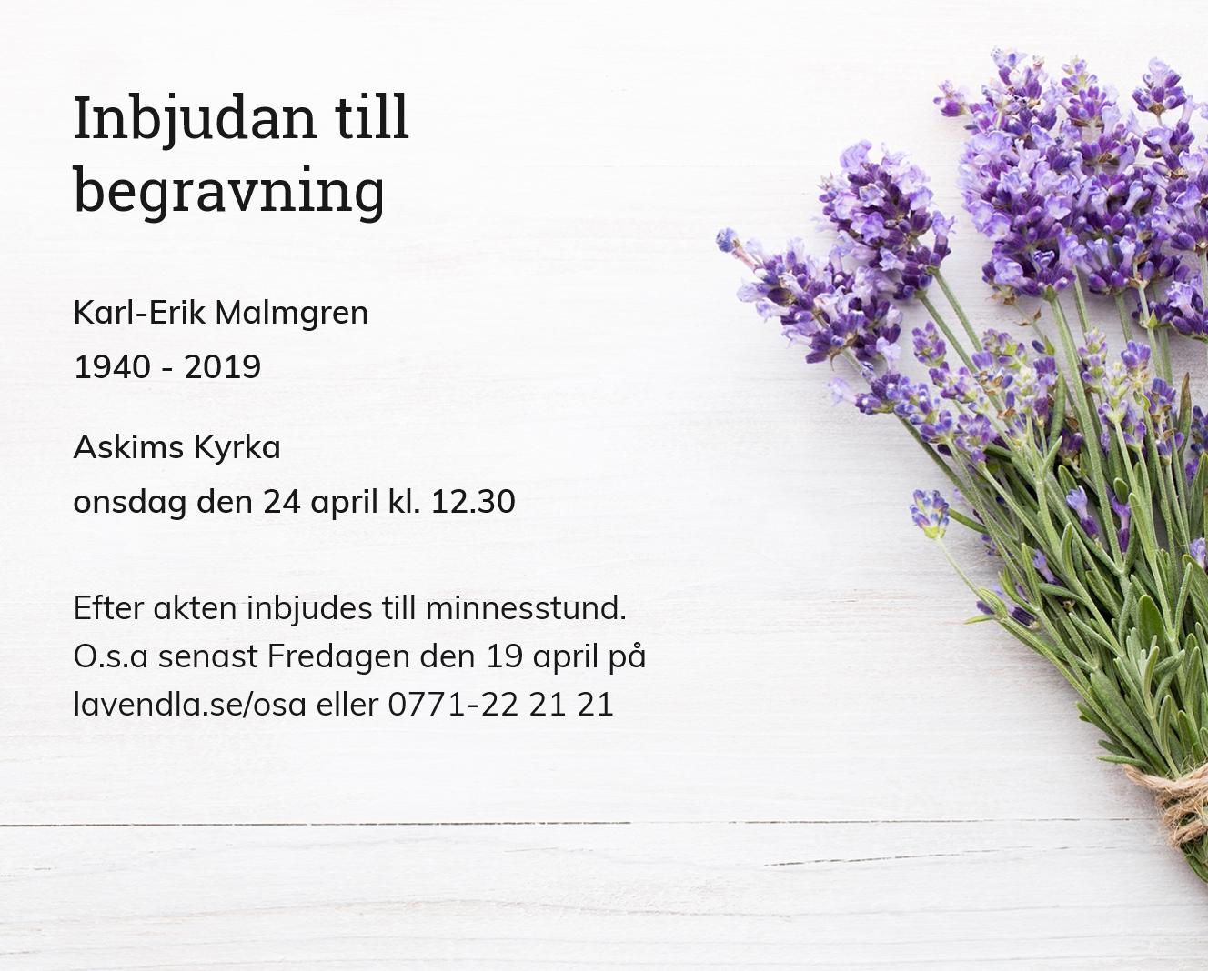 Inbjudningskort till ceremonin för Karl-Erik Malmgren