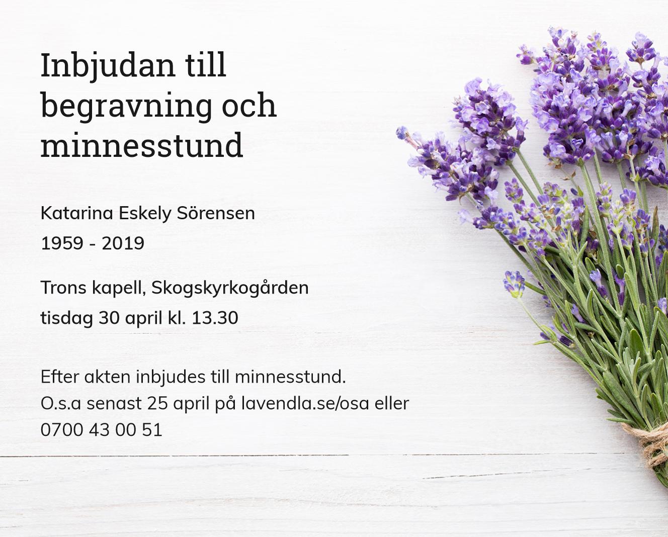 Inbjudningskort till ceremonin för Katarina Eskely Sörensen