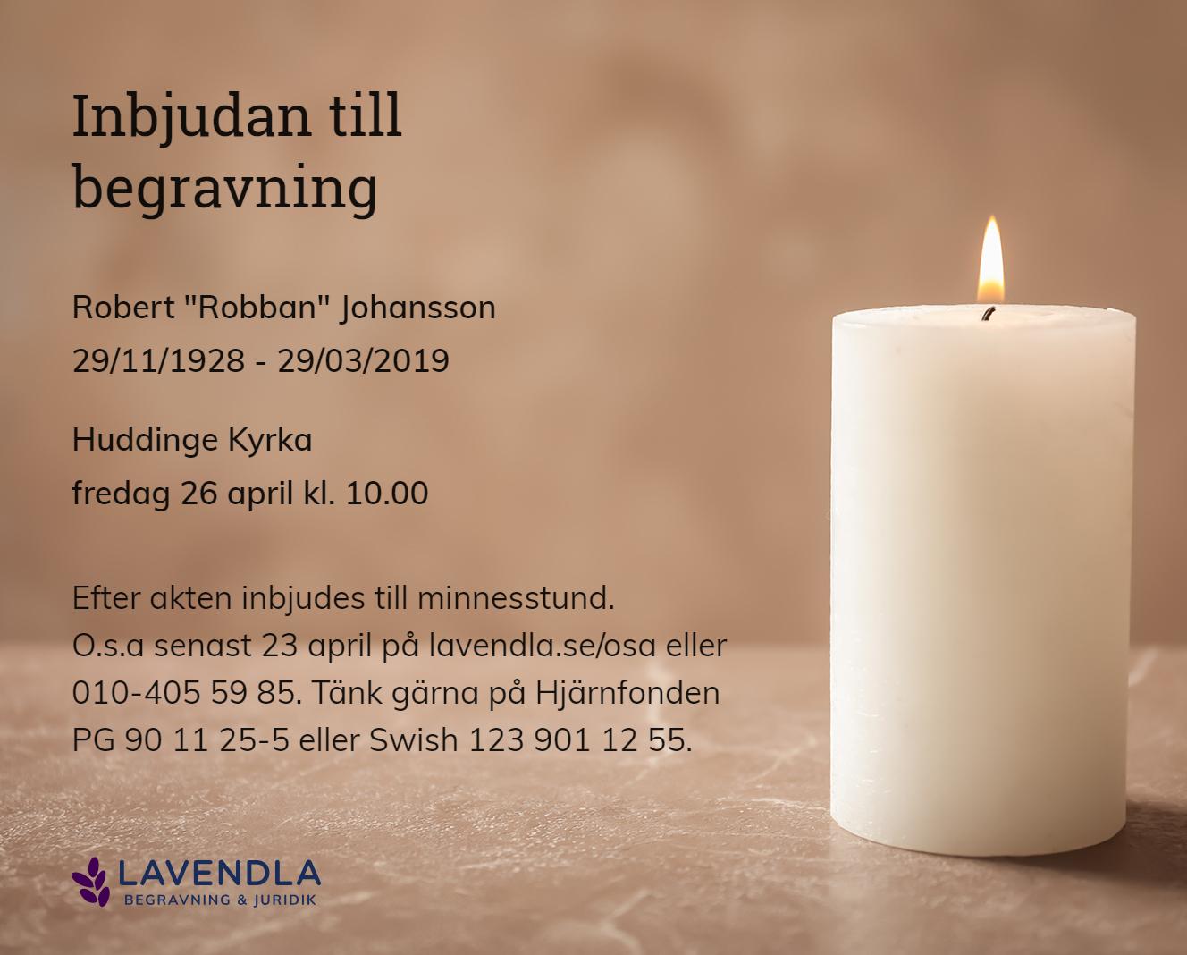 """Inbjudningskort till ceremonin för Robert """"Robban"""" Johansson"""