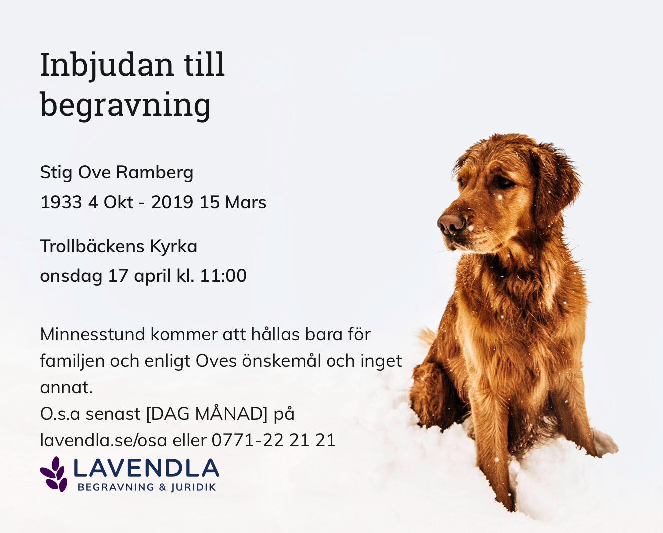 Inbjudningskort till ceremonin för Stig Ove Ramberg