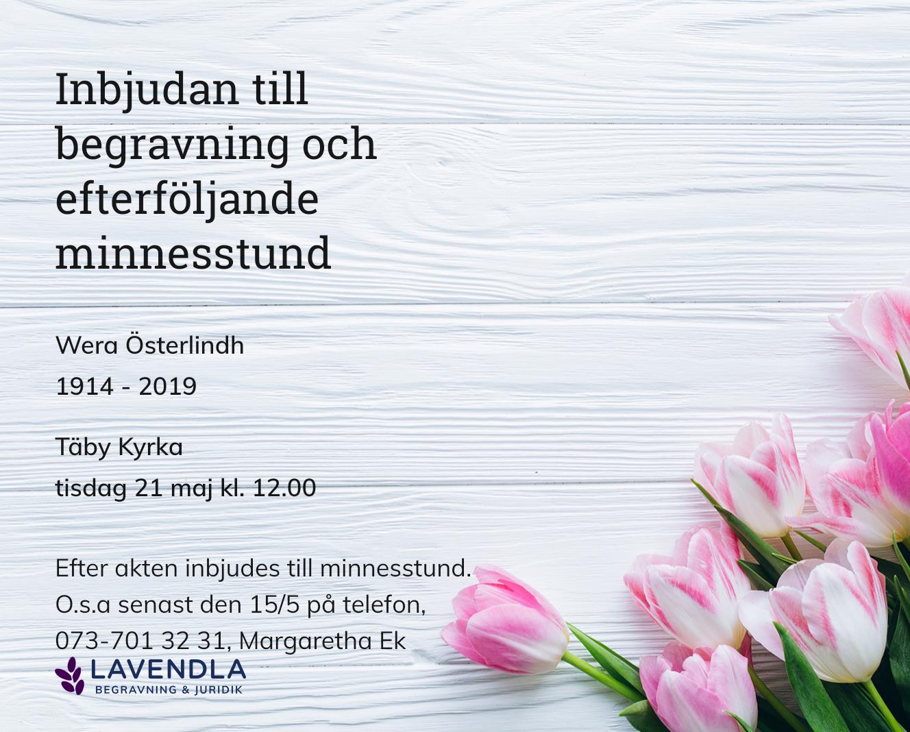 Inbjudningskort till ceremonin för Wera Österlindh