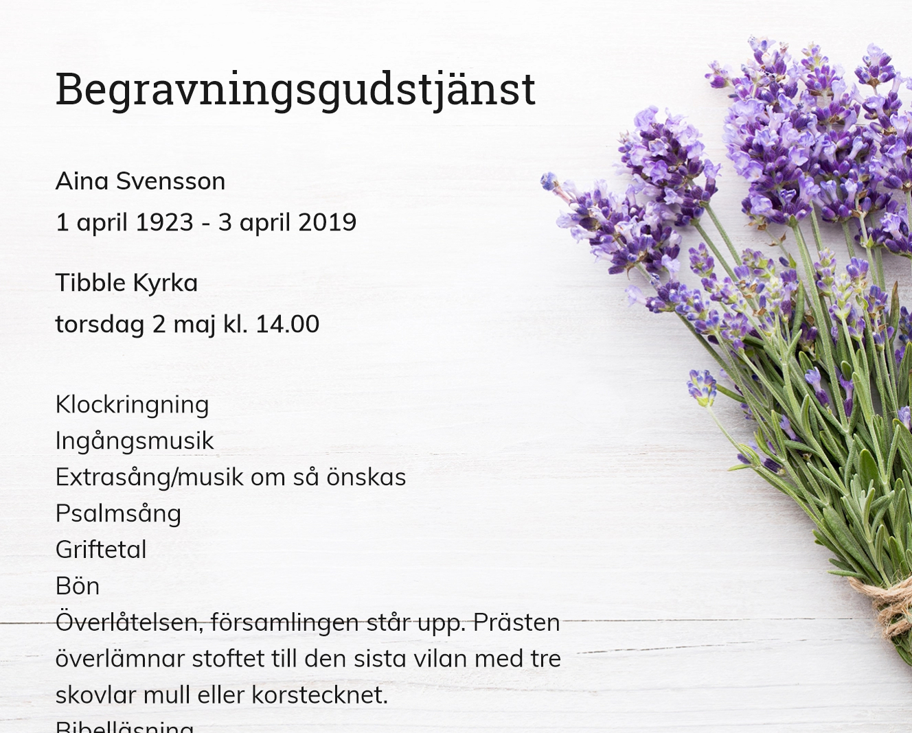 Inbjudningskort till ceremonin för Aina Svensson