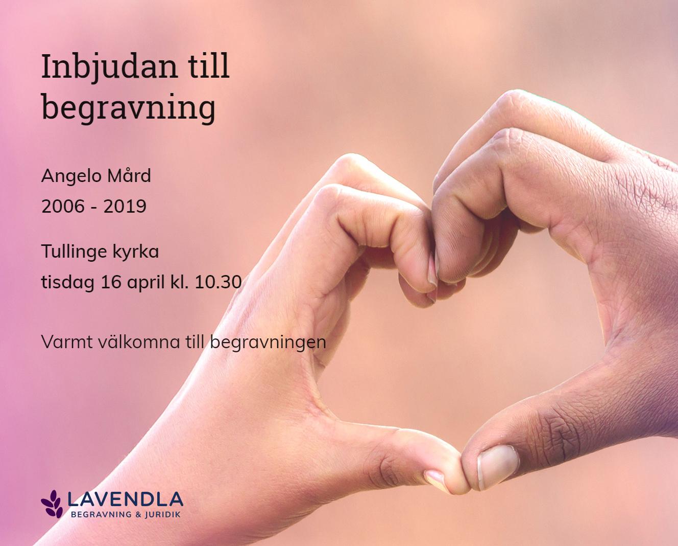 Inbjudningskort till ceremonin för Angelo Mård