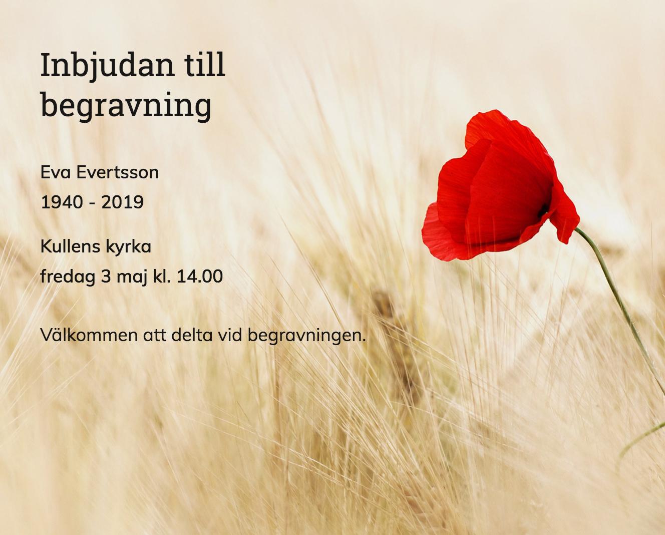 Inbjudningskort till ceremonin för Eva Evertsson