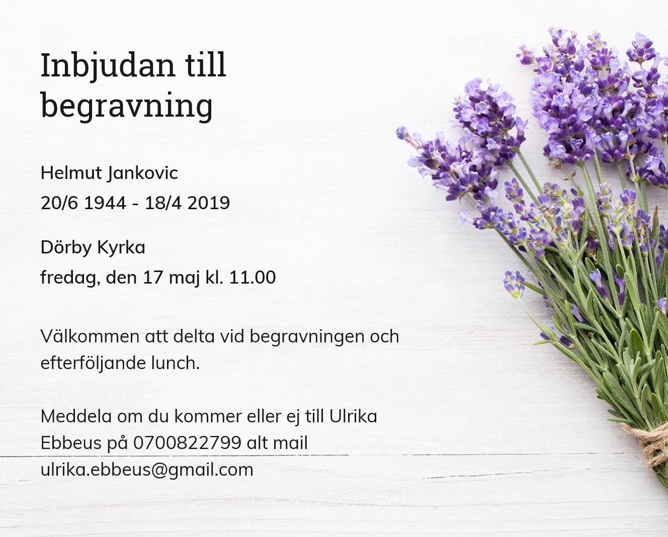 Inbjudningskort till ceremonin för Helmut Jankovic