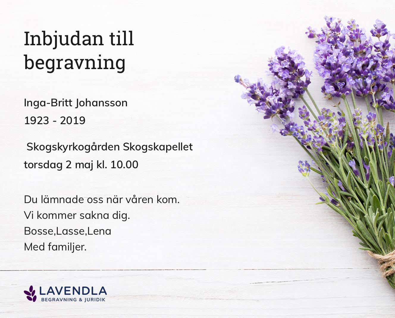 Inbjudningskort till ceremonin för Inga-Britt Johansson