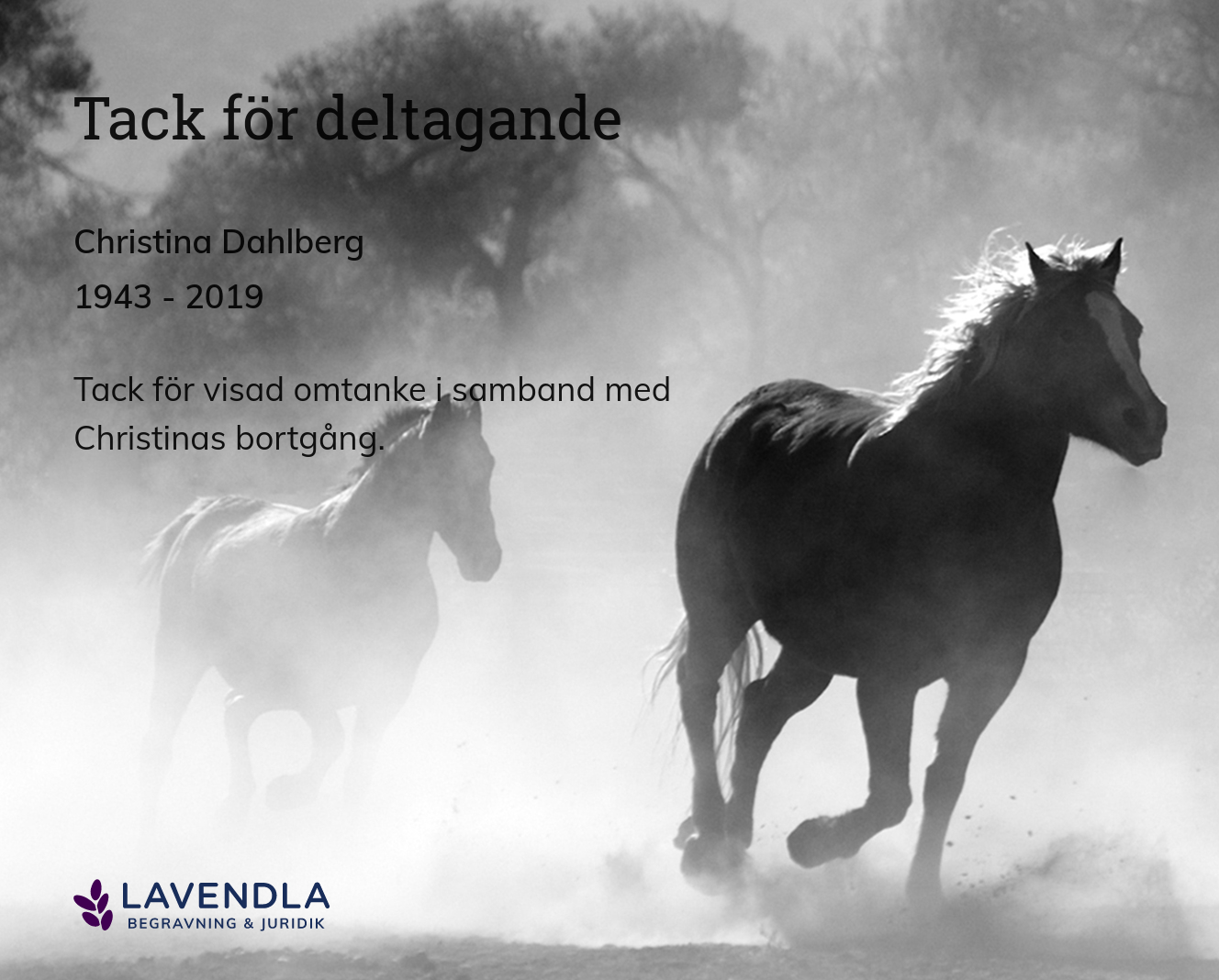 Inbjudningskort till ceremonin för Christina Dahlberg