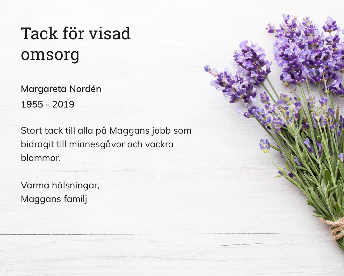 Inbjudningskort till ceremonin för Margareta Nordén