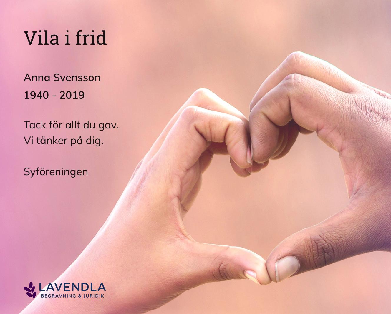 Inbjudningskort till ceremonin för Anna Svensson