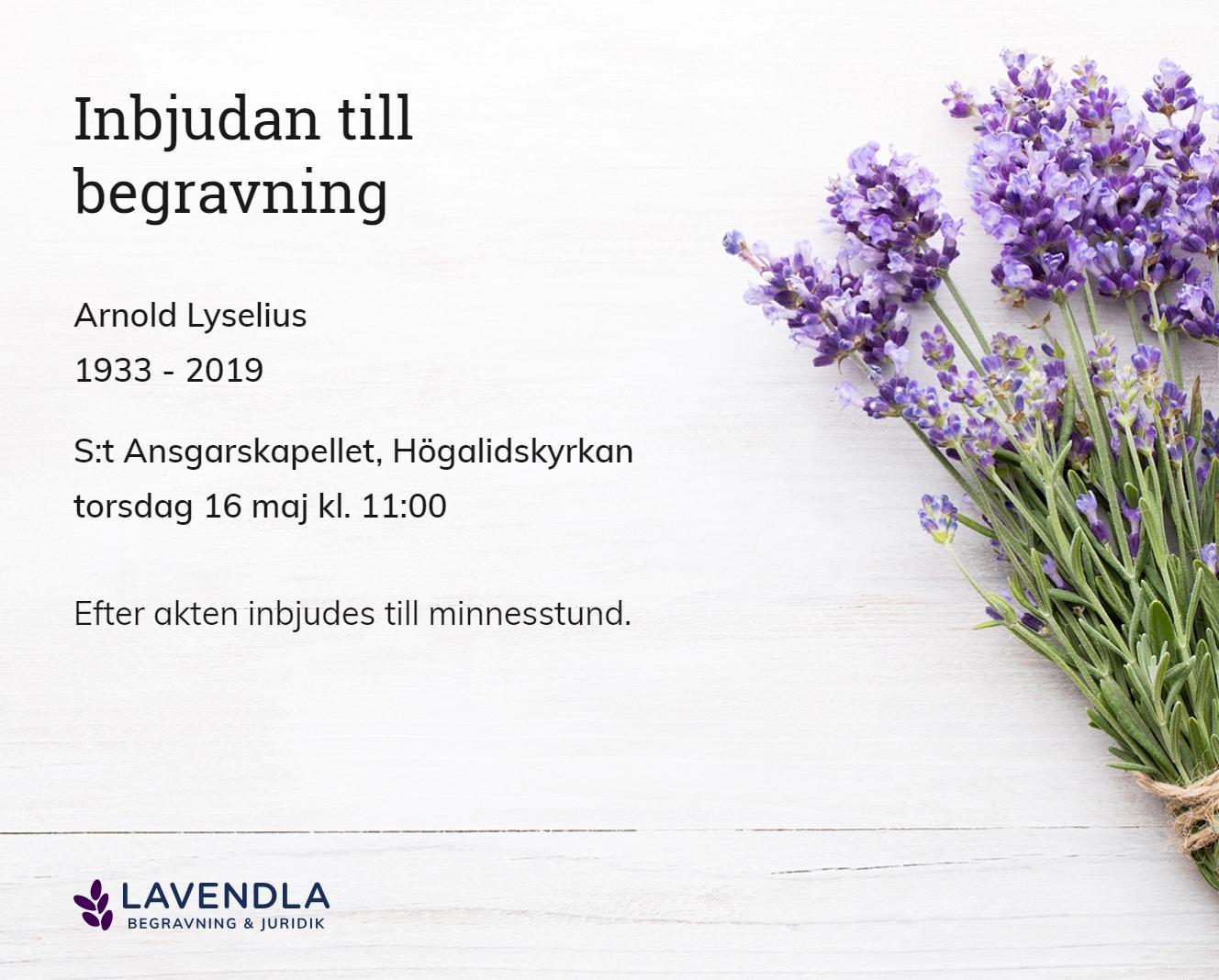 Inbjudningskort till ceremonin för Arnold Lyselius