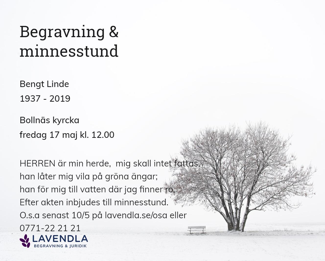 Inbjudningskort till ceremonin för Bengt Linde