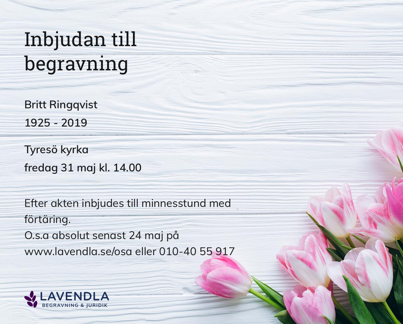 Inbjudningskort till ceremonin för Britt Ringqvist