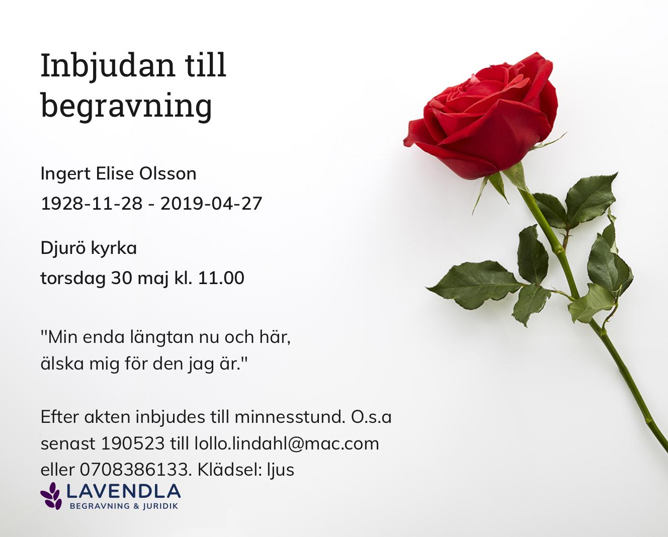 Inbjudningskort till ceremonin för Ingert Elise Olsson