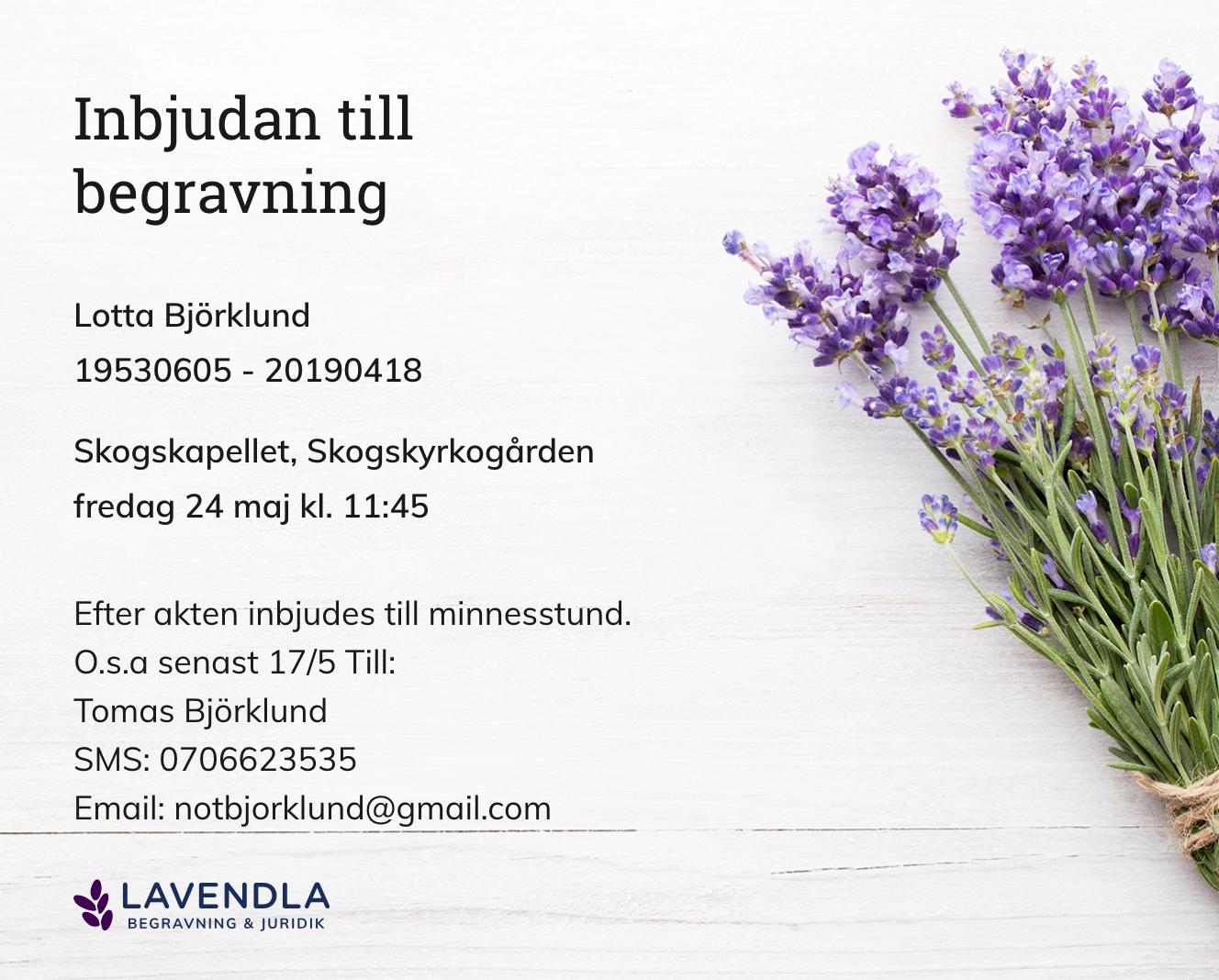 Inbjudningskort till ceremonin för Lotta Björklund