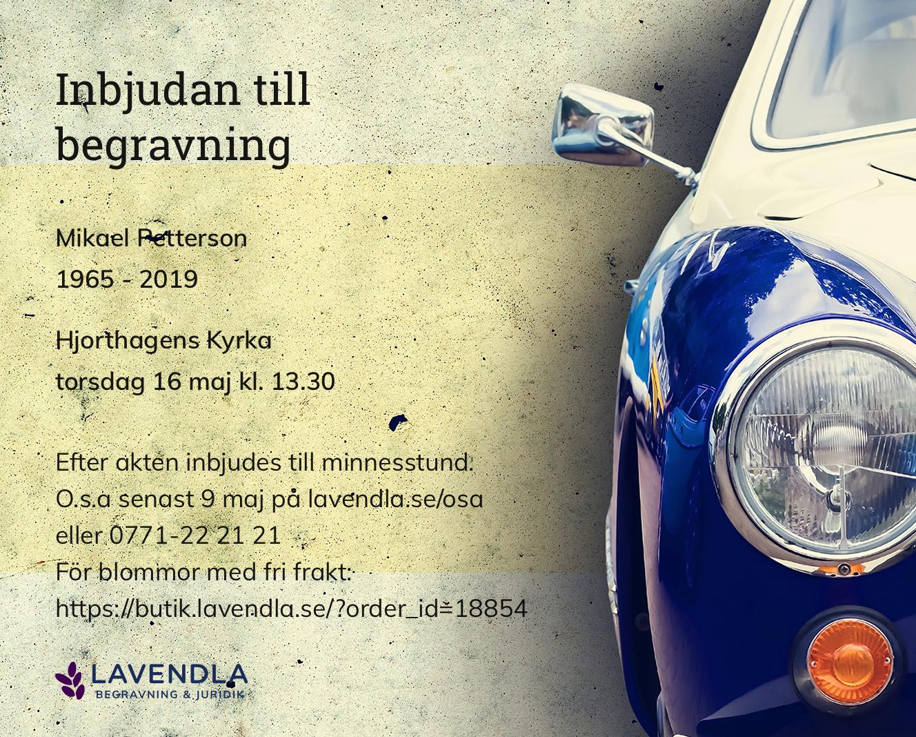 Inbjudningskort till ceremonin för Mikael Petterson